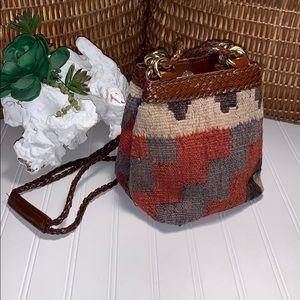 LJ Simone 1980's Blanket Kilim Bucket Handbag